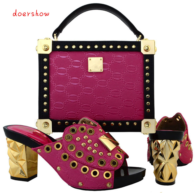 doershow African Shoes And Bags,Fashion Italian Matching Shoes And Bag Set Nigerian High Heels For Wedding Dress!  PUW1-19