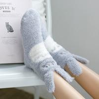 Autumn Winter Non Slip Floor Velvet Socks Thicken Warm Furry Ear Koala Women Socks Cute Cartoon