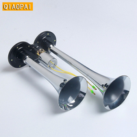 Super Louder 150DB 12V 24V Chrome Siren Auto Two Pipes Dual Way Trumpet Electric Air Horn