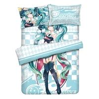 Hot Japanese Anime Home Textile Duvet Cover Pillow Case Racing Miku Chracter Bed Sheet Boy Kid Teen Girl Bedding Set