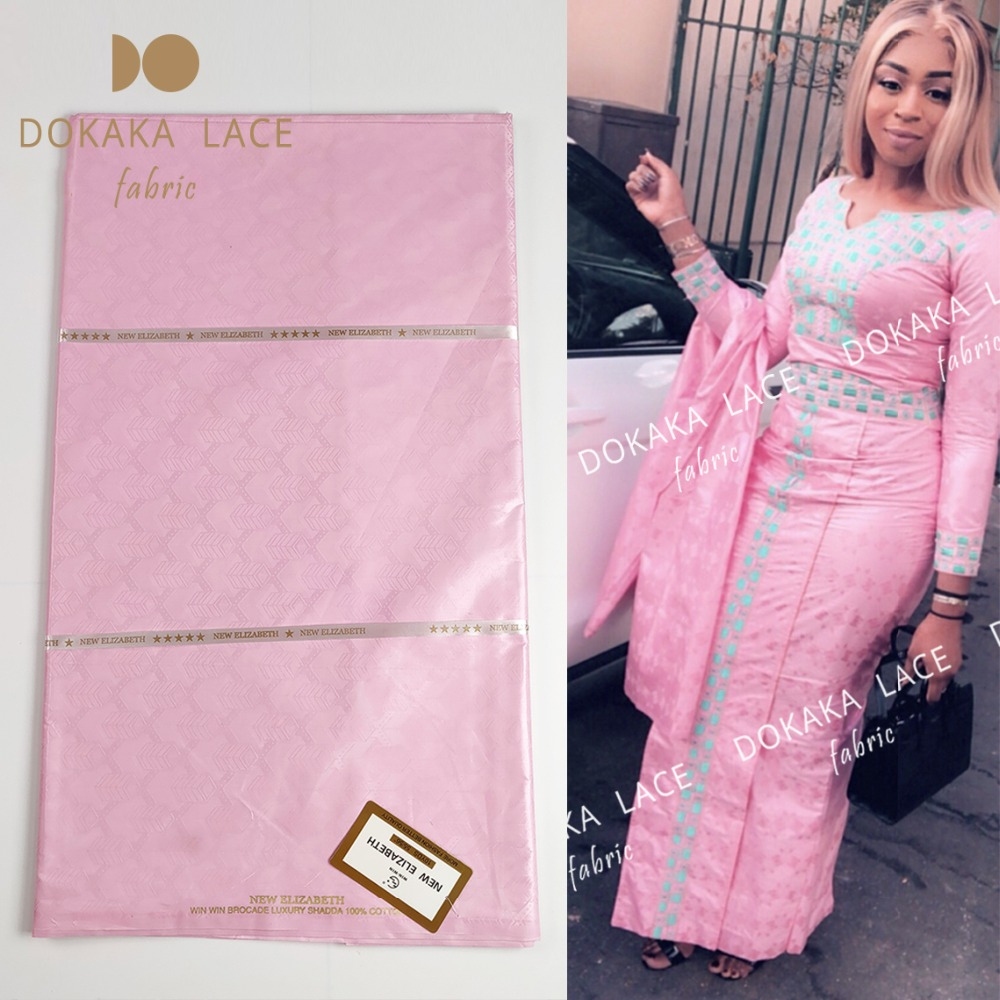 2019 New Arrival 5 Yards Scented Bazin Riche Lace Fabric Pink Color African French High Quality