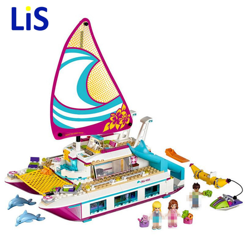 Lis 01038 Sunshine Catamaran Dolphins Girl Assemble building blocks model toys Building Block Christmas present legoingly 41317Lis 01038 Sunshine Catamaran Dolphins Girl Assemble building blocks model toys Building Block Christmas present legoingly 41317