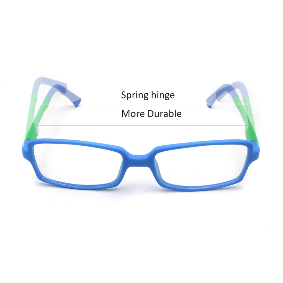 ESNBIE Kids Glasses Frames Boy TR90 Memory Blue Green Double Color Kid Nerd Glasses Clear Lens Rectangle Child Eyeglasses in Men 39 s Eyewear Frames from Apparel Accessories