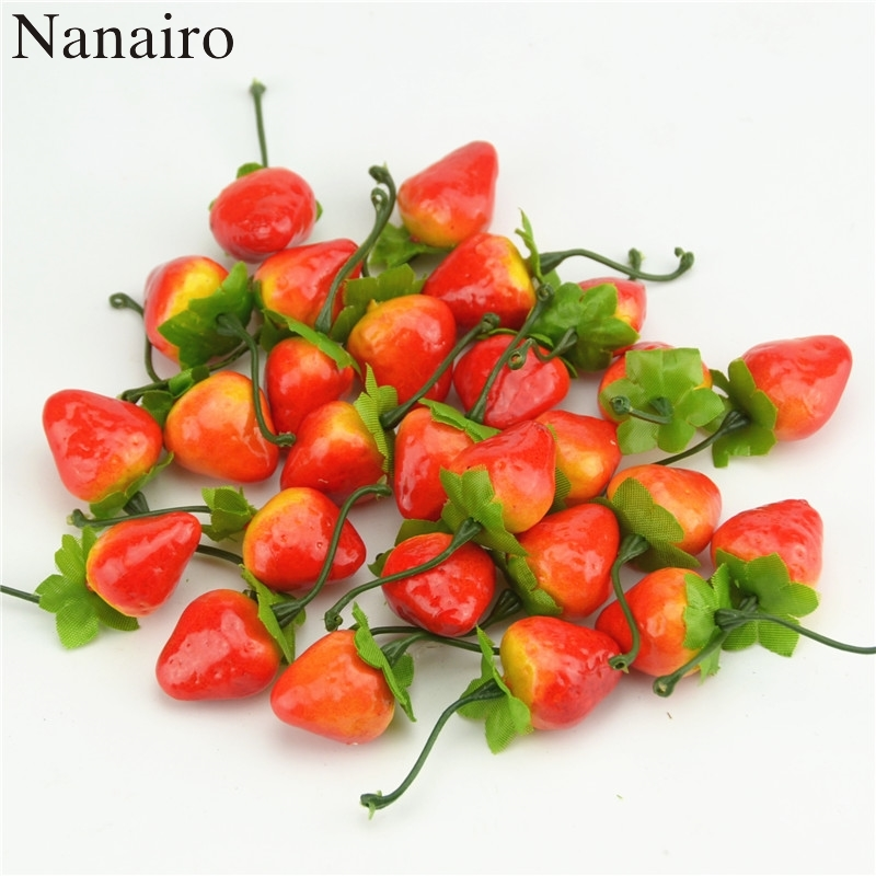 10pcs/lot 3cm Mini Artificial Fruit Foam Strawberry Fake Simulation Fruit Lifelike Home Wedding Party Garden For Decoration