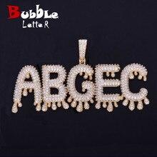 A Z Custom Naam Kleine Drip Bubble Letters Kettingen & Hanger Ketting Mannen Zirkoon Hip Hop Sieraden Met 4 Mm tennis Chain