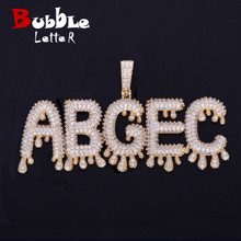 A Z Custom Name Small Drip Bubble Letters Necklaces & Pendant Chain Mens Zircon Hip Hop Jewelry With 4MM Tennis Chain