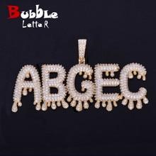 Jewelry Tennis-Chain Necklaces--Pendant-Chain Bubble-Letters Custom Name Men's Zircon