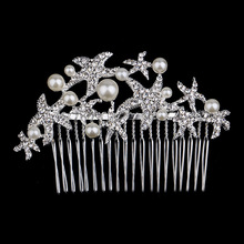 Free shipping 2015 new paragraph was added to starfish crystal  accessories wholesale leaves bride wedding comb