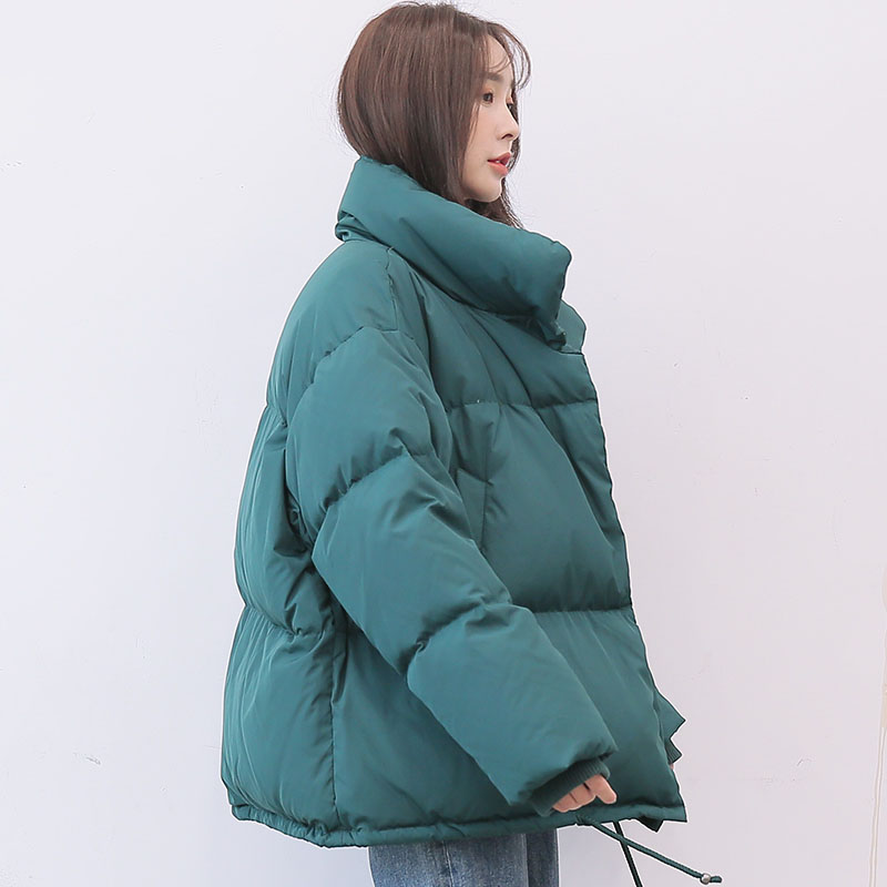 Oversize preppy style   down   jacket women stand collar short   down     coat   loose fit outerwear 2019 autumn winter collection
