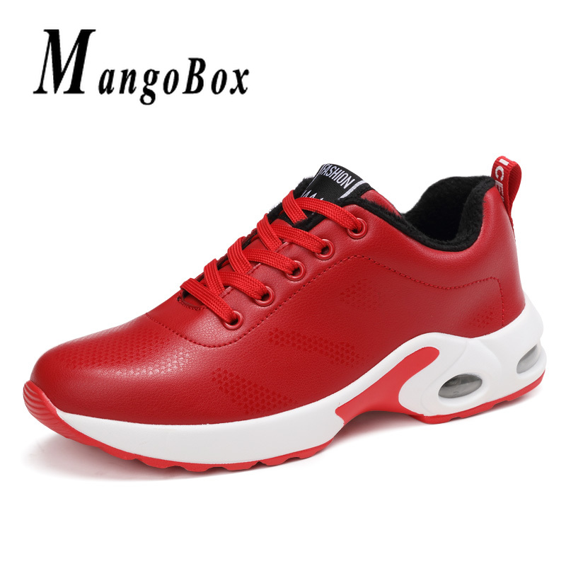 Red Running Shoes for Ladies Air Cushion Gym Best Shoes Women with Fur Athletic Sneakers Pu Leather Girls Jogging Walking Shoes shein ropa