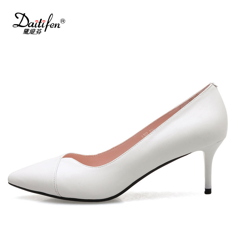 Daitifen  2017 Black Red Genuine Leather Pumps Thin Heel Women Pumps High Heels Pointed Toe Shoes Woman Wedding Shoes Size 32-41 2016 woman high heels pumps thin heel women s shoes pointed toe high heels wedding shoes brand fashion shoes