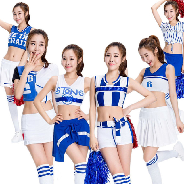 2019 Cheerleader Uniform Cosplay Costumes Blue White Women Football  Basketball Clothing Short Sleeve Party Outfit Fancy Dress 3ae079d9f