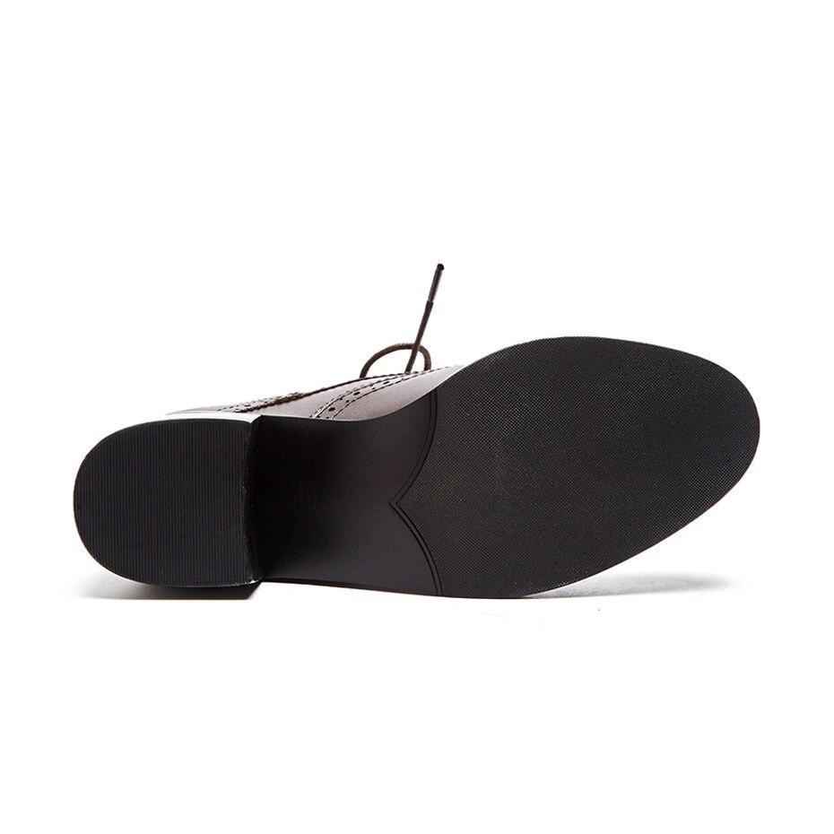 Mujeres E Otoño Mujer Invierno Oxford Black Cuero O De Marrón Las Para Damas Zapatos brown Motocicleta Suru Genuino Negro Tobillo Botas CxnqX0wSx