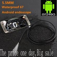 Cámara endoscópica USB para Android, endoscopio impermeable 6 LED boroscopio serpiente Cámara flexible de inspección para Android PC, 1/2m 5,5mm/7mm