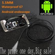 Водонепроницаемая USB камера эндоскопа, 1/2 м, 5,5 мм/7мм, бороскоп с 6 светодиодами с Android, гибкая трубка для осмотров, камера для Android, ПК