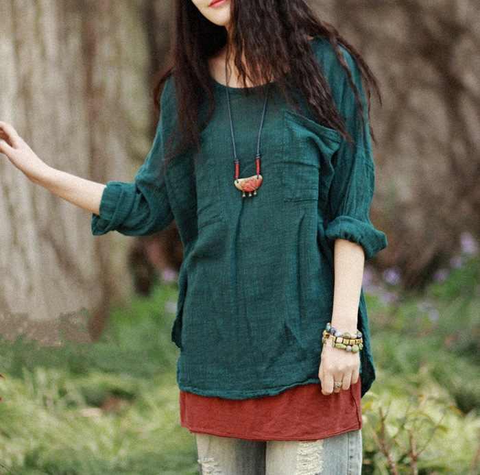 Womens Plus Size Lino e Cotone T-Shirt Casual Autunno bordo Irregolare Girocollo Colore Solido Shirt Allentato Tops T-Shirts
