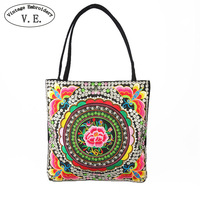 Vintage Embroidery Women National Bags Handmade Flower Embroideried Ethnic Cloth Shoulder Bag Woman Shopping Travel Tote
