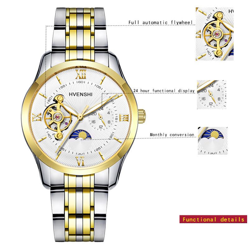 HVENSHI Watch Men Luxury Waterproof Mechanical Watch Men Automatic Moon Phase Men 39 s Mechanical Self Wind Watches relogio clock in Mechanical Watches from Watches