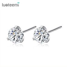 LUOTEEMI Lady New Arrive Luxury Tiny 925 Sterling Silver 3 Prong Shinning Clear CZ Stud Earrings For Women Silver Jewellery(China)