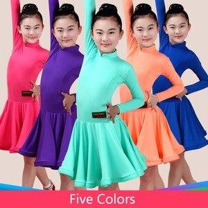 Image 2 - 2020 menina vestido de dança latina 5 cores vermelho/verde/azul criança/criança criança fitness crianças samba chacha rumba menina mostrando saias de dança 2034