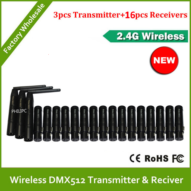 DHL Free Shipping 2.4G  Wireless Dmx512 Controller 3pcs Transmitter And 16pcs Receiver For Stage PAR Party Light