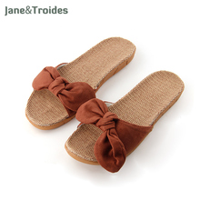 Women Cute Flock Bow Home Slippers Summer Breathable Linen Anti Slip Flip Flops Comfortable Casual Sandals Fashion Woman Shoes