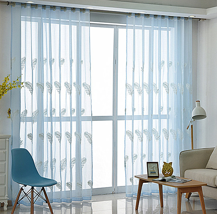 Polyester Cotton White Sheer Curtains Window Decoration