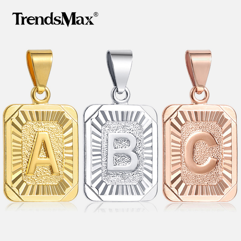 High Quality Mens Womens 18K Yellow Gold Filled Pendant Square pendant w Capital Letter Fashion Design Wholesale Pendant GP37 locket