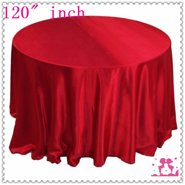 15pcs 120u0027u0027 Round Satin Tablecloths For Weddings Round Tablecloth Red Free  Shipping