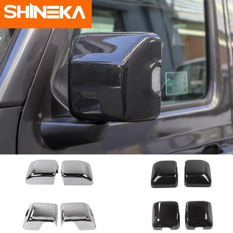 SHINEKA Autocollant De Voiture pour Jeep Wrangler jl accessoires rétroviseur Carbone fibre Chrome autocollant de décoration pour wrangler 2018
