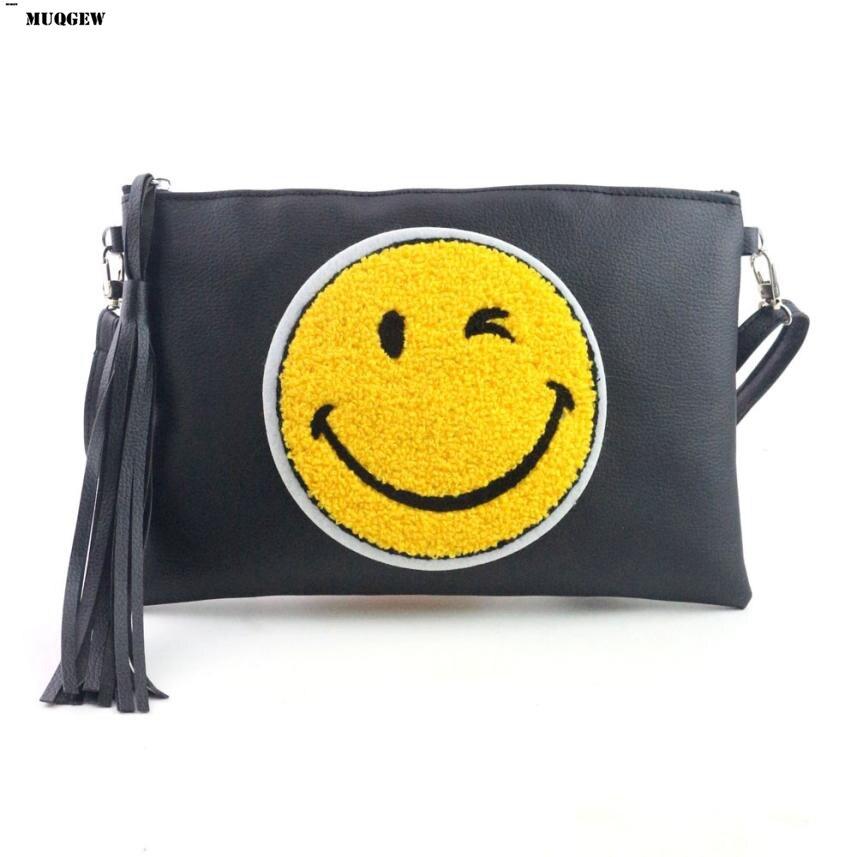 MUQGEW Hand Bag Smile Emotion Women Messenger Bag Black Leather Woman Bags Sac A