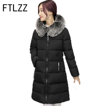 FTLZZ Winter Jackets 2017 Women Parka Jacket Female Medium Long Parka Fur Hood Coat Women Cotton