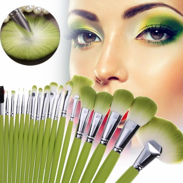 Cosméticos 24 pcs Maquiagem Profissional Pro Fundação Corar Sombra Em Pó Escova de Cabelo Sintético Conjunto Com a Moda Verde Saco PU