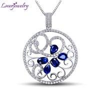 Привлекательный Для женщин синий сапфир бриллиант подвеска 18 К White Gold 2.44 ct драгоценный цветок wp056