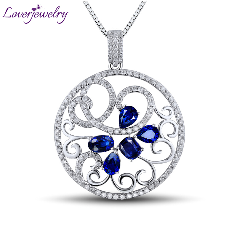 Attractive Women Blue Sapphire Diamond Pendant 18K White Gold 2.44 ct Gemstone Flower WP056 цены