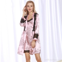 2017 Nieuwe Herfst Vrouw Sexy Kant Guirlande Nachtjapon Vintage Grote Size Nachthemd Zijdeachtige Nachtkleding Elegante Badjas Homewear Pak