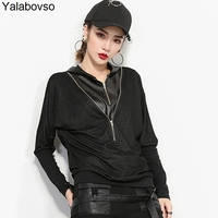 Retro Vintage Hip Hop Autumn Women Loose Black Tees Patchwork Irregular Zippers Patches Tops Denim PU T Shirts with hat A67Z20