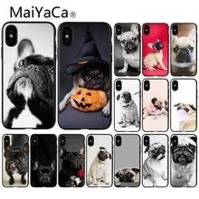MaiYaCa Animal Bonito Pug Dog Luxo Moda Padrão TPU Caso de Telefone Macio para iPhone 8 7 6 6 S Plus 5 5S SE XR X XS MAX Coque Shell(China)