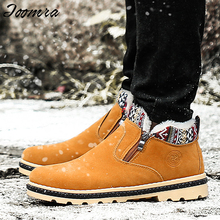 High Quality Men Boots Winter Casual Brand Warm Shoes Men Boots Leather Plush Fur Fashion Walking Shoes