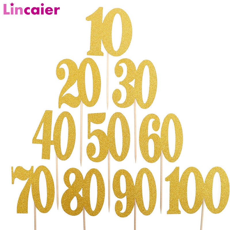 10pcs Gold Cupcake Topper Birthday Party Decorations Adult Man Woman 21st 30th 40th 50th 60th Birthday Photo Booth Accessories(China)