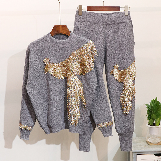 2019 Autumn Winter Knitted Women Tracksuit 2 pieces Set Pearls Phoenix Sweater Knit Pants Black Set Casual Women Two Piece Set