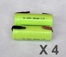 Recarregável de Iões Lítio com Pinos Tabs para Áudio 4 Pcs 3.7 V 18500 Bateria 1800 Mah 18490 Células Li-ion de Solda Falante Tocha Barbeador
