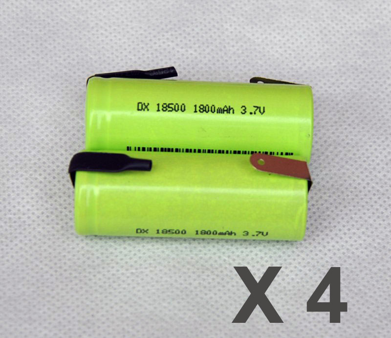 4PCS 3.7V <font><b>18500</b></font> <font><b>battery</b></font> 1800mah 18490 rechargeable lithium <font><b>ion</b></font> <font><b>li</b></font>-<font><b>ion</b></font> cell with welding pins tabs for audio speaker torch shaver image
