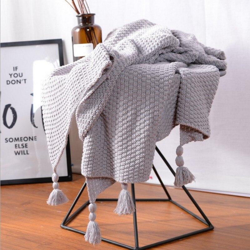Couverture décorative de canapé de couverture de cape de mode cobertor printemps/automne été décoration tapis canapé gland couverture tricotée pour hom
