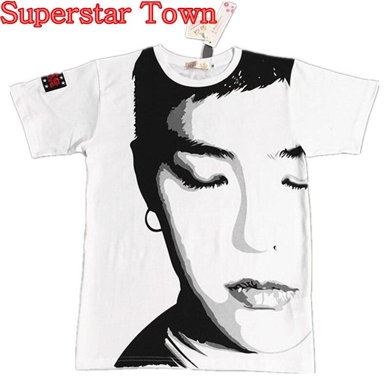 KPOP Gdragon GD TOP BIGBANG Fantasic BABY Portrait T-shirt KPOP CASUAL BASIC TEE Korea Style Harajuku BIGBANG Boys T Shirt