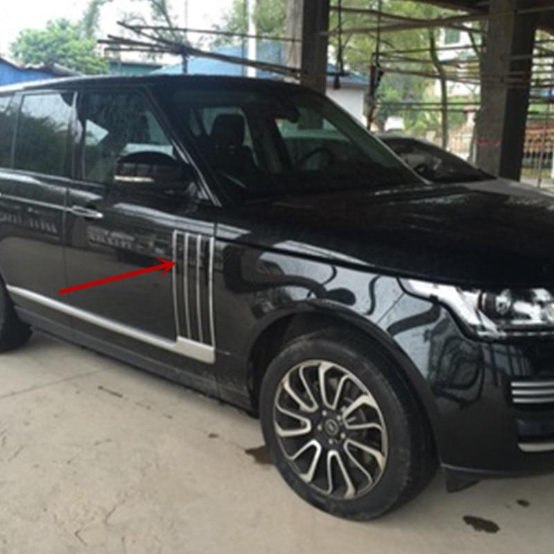 Side Fender Door Air Vents Kit Trim Black Chrome line For Land Rover Range Rover Vogue 2014 2015 2016