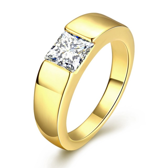 Megrezen Engagement Ring Stone Men Cubic Zirconia Wedding Mens Gold Rings With Bijoux Homme