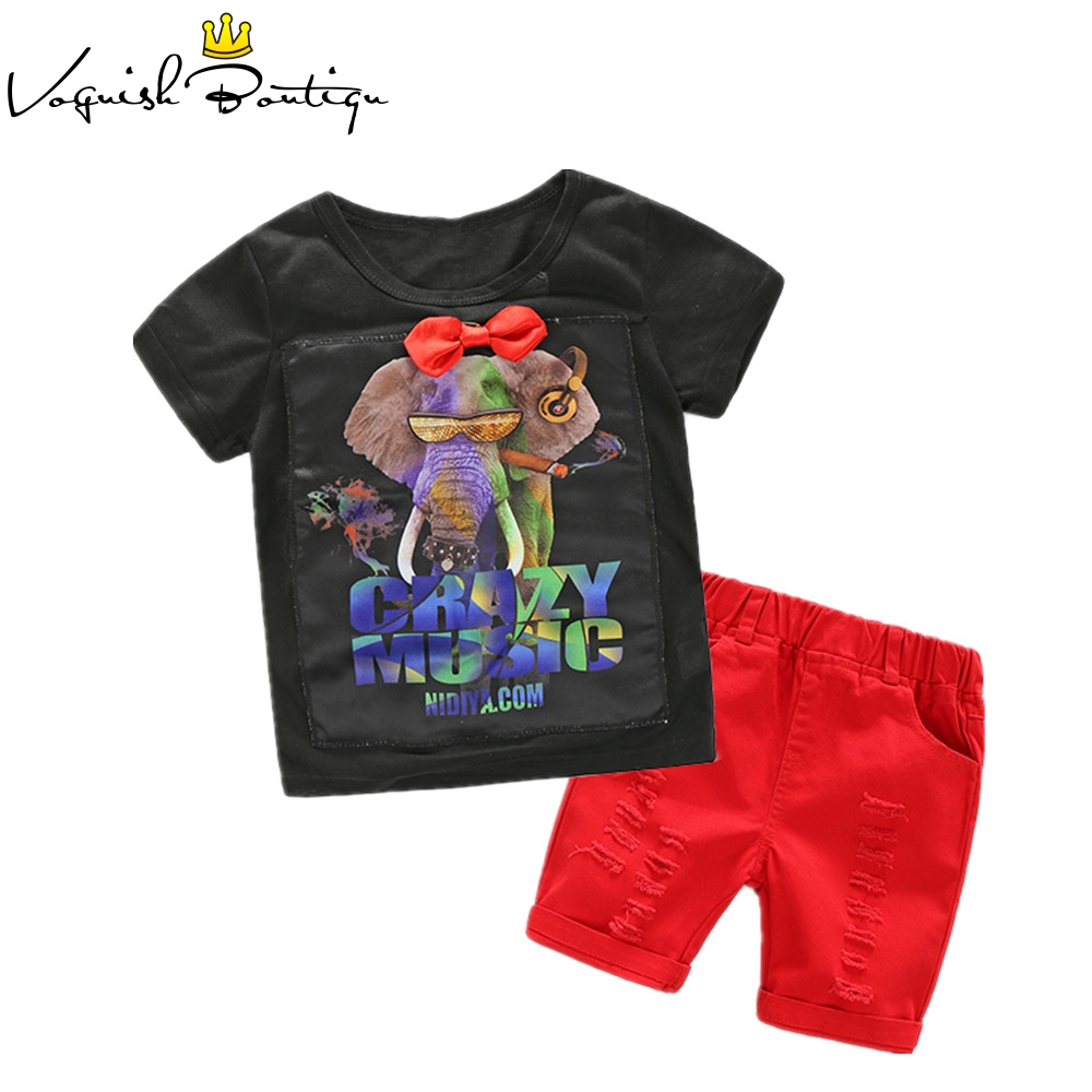 Summer boys clothes short sleeve Elephant printed crazy music letter t-shirt with red shorts casual clothing set