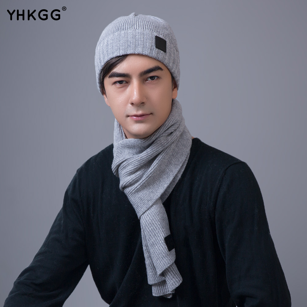 2017YHKGG  Knit Hat and Scarf Warm Winter Hat For men Hat Beanies Thick  Bonnet Scarf Set man Scarf Comfortable 2017 yhkgg the girl s hat warm and comfortable in winter hats the ornament of a flower cute baby hat knitting hat