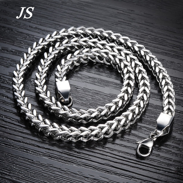 JS Hip Hop 6mm Thick Heavy Silver Gold Titanium Neck Necklace Men Motorcycle Titanum Chain Rope Jewelry RN002